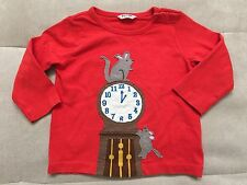Boy Baby Boden Long Sleeve Shirt Size 12-18 Month Red Mouse And Clock