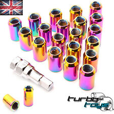 20x NEO CHROME STEEL WHEEL TUNER NUTS M12x1.25 fit SUBARU IMPREZA WRX STI TURBO