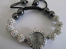New Shamballa White Crystal 10mm Bling Bracelet Watch face Diamante