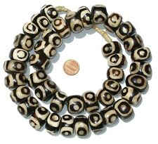 African Eye Design Batik Bone Beads (Large)  Kenya
