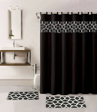 15PC BLACK GEOMETRIC BATHROOM SET BATH MATS SHOWER CURTAIN FABRIC HOOKS
