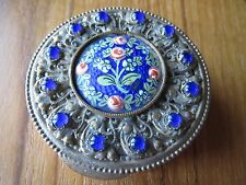 "2"" FRENCH ANTIQUE ENAMEL PILL PATCH BOX c. 1890 trinket brass flower France"