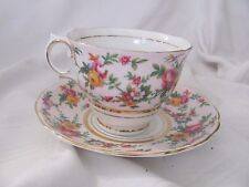 Colclough pink yellow blue roses chintz cup & saucer set England bone china