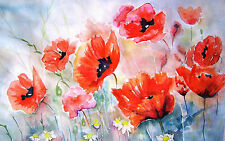 Framed Print - Watercolour Style Red & Pink Poppies (Picture Poppy Flowers Art)