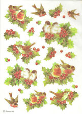 Rice Paper for Decoupage, Scrapbooking and other, Christmas Berries Birds A4