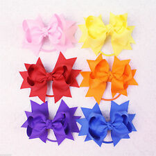 Hot selling Girl baby colorful solid Ribbon 3inch Hair Bows elastic E007-1-15 Y