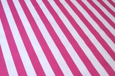 HOT PINK WHITE CABANA STRIPE SUMMER PICNIC DINE OILCLOTH VINYL TABLECLOTH 48x96