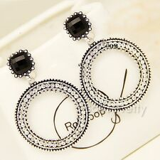 1Pair Bohemian Style Rhinestone Black Cross Circle Dangle Earings Ear Studs