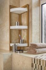Bamboo 3 Tier  Bathroom Corner Caddy Shower Shelves Standing Tidy Organiser