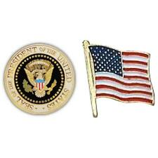 "USA Presidential Seal Pin 1"" & USA Flag Lapel Pin 7/8"" x 3/4"""