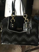 Coach F20084 Ashley ✨ Black Gathered Sateen Leather Chain Link Satchel $398 MINT