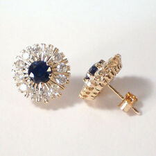 RUSSIAN JEWELRY SAPPHIRE AND DIAMOND 14K GOLD EARRINGS #E402. 585