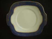 VINTAGE CROWN STAFFORDSHIRE TWIN HANDLED CAKE PLATE ~COBALT BLUE & GILT ~c.1920s
