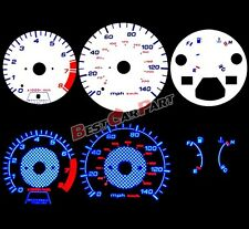 WHITE For 90-93 Accord MT Manual BLUE INDIGLO Night Reverse GLOW GAUGE KIT