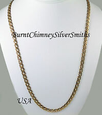 "14K Gold Overlay Double Curb Rombo Necklace 30"" x 8mm Chain"