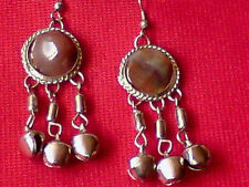 "VINTAGE 90's AUTHENTIC INDIAN NATURAL AGATE 2"" DROP EARRINGS withBELLS £3.99 NWT"