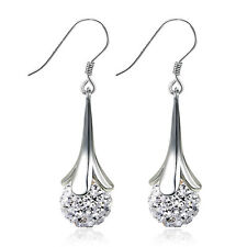 Womens 925 Sterling Silver Petals Swarovski Crystal Ball Dangle Hook Earrings