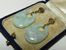 BEAUTIFUL, ANTIQUE, CHINESE, 9 CT GOLD EARRINGS WITH NATURAL JADE