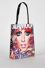 Ladies Glamorous Magazine Print Satin Feel Beautiful Model Shopping Hand Bag