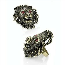 ***Ladies Stunning Burnished Gold Effect Lion Ring Statement Ring - Brand New***