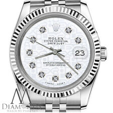 Mens Rolex 36mm Datejust White Color Jubilee Dial with Diamonds Watch