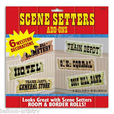 Wild West escena occidental Setter complementos Madera Ciudad signos
