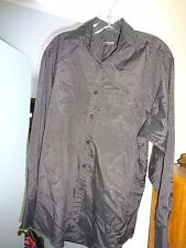 ENRICO ROSSINI Mens Black Red Stripe Size Small Button Front Poly Cotton Shirt