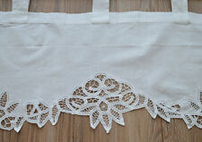 Victorian White Kitchen Cafe Pineapple Floral Battenburg Lace Curtain Valance
