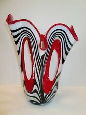 "Hand Made In Poland Art Glass Open Holes Design Vase 14"" Tall Red White & Black"