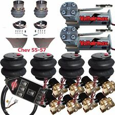 "Air Suspension Kit 3/8"" Valve 7 Switch Pewter AirMaxxx 1957 Chevy Impala"