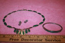 TV-93 Mexico 925 Silver Green Inlaid Malachite Necklace Bracelet Earring