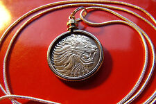 """Classic African Pride Roaring Lion Coin Pendant on a 30"""" 925 Silver Snake Chain"""