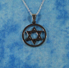 "One Stainless Steel Beautiful Star Of David With 18"" plated-925 Silver Chain 18A"