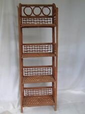 4 TIER FOLDING WICKER SHELVES HANDY EXTRA STORAGE FOR BATHROOM, KITCHEN OR DEN
