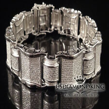MEN'S 2 CT GENUINE REAL DIAMOND DESIGNER BRACELET NEW 14K WHITE GOLD FINISH 8.5""