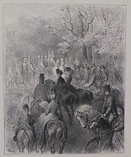 Doré - London; 'Afternoon In The Park', Antique Wood Engraving, C.1870
