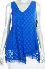 MACY'S ALFANI CAREER SLEEVELESS HIP LENGTH BLOUSE ASYMETRICAL HEM DOT SIZE M