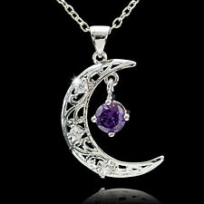 925 Silver Sapphire Hollow Moon Style Necklace Pendant Women Jewelry