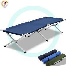 Camping Bed Folding Stretcher Light Weight w/ Carry Bag Camp Portable Navy Blue