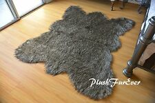 2 x 4  Black Tip Wolf Bear skin Lodge Cabin Decor Accents Home Area Rug