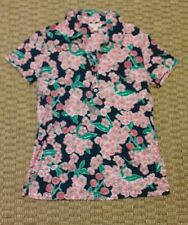 Lilly Pulitzer womens blue pink green cherry blossom pattern collared shirt M