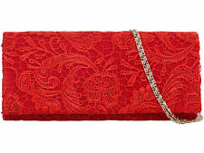 Womens Satin Floral Lace Designer Clutch Bag Evening Purse Ladies Party Wedding