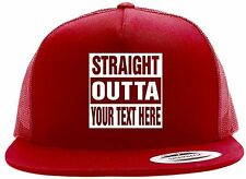 """Custom STRAIGHT OUTTA """"Your Text Here"""" Baseball Snapback Hat CUSTOMIZED Red"""