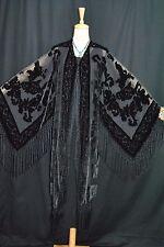 Classic Black Eastern Burnout Silk Velvet Fringe Flower Jacket Kimonos Duster