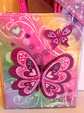 Punch Studio PINK BUTTERFLY ON RAINBOW PARTY GIFT BAGS.  GLITTERED!  GORGEOUS!