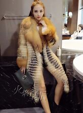 GENUINE REAL LONG (Vulpes vulpes)red  FOX FUR Coat Handmade