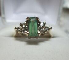 Rare Clean .56ct Natural Baguette Shape Alexandrite & Diamonds 10kt Gold Ring