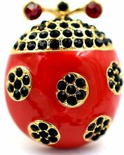 Ladybug Stretch Ring Crystal Rhinestone Animal Bling Jewelry Red- Black RA25