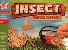 Insect Kids Create Insect Two Pack Wood Models 3D Puzzle Craft Kit 2 Wood Bugs