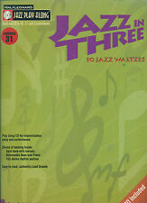 """JAZZ IN THREE"" MUSIC BOOK/CD JAZZ PLAY ALONG FOR B & E FLAT/C INSTRUMENTS SALE!"